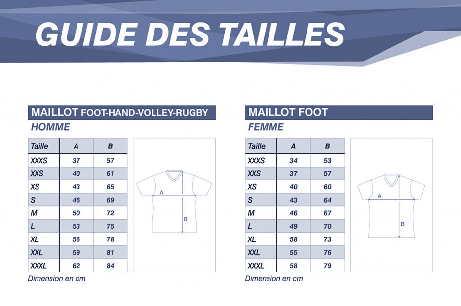 tailles maillot foot