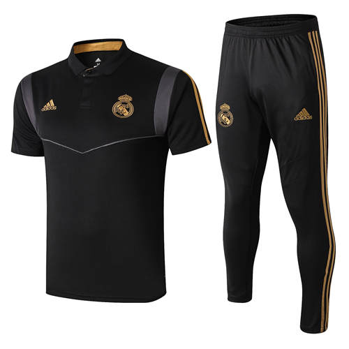 Polo Real Madrid Lapel Noir Gold 2019