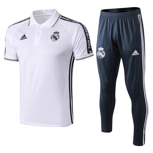 Polo Real Madrid Lapel Blanc Noir 2019